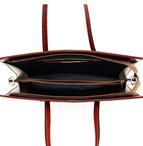 SUPERFLYBAGS Borsa Portadocumenti a spalla in Vera Pelle Tamponato modello UFF made in Italy marrone