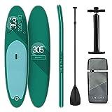 KLAR FIT Stand Up Paddle Board Surf • Spreestar 305x10x77cm • all-Round SUP Gonfiabile • Set Completo: Pagaia + Pompa + Sacca Trasporto + Kit di Riparazione • Color Verde • Tecnologia DropStitch