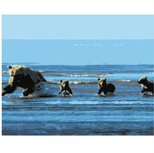 XIGZI Bären Jagd Fisch Im Wasser Set Für Die Zeichnung Von Zahlen Kunst Tierbilder Für Wohnzimmer Wohnkultur 40x50 cm