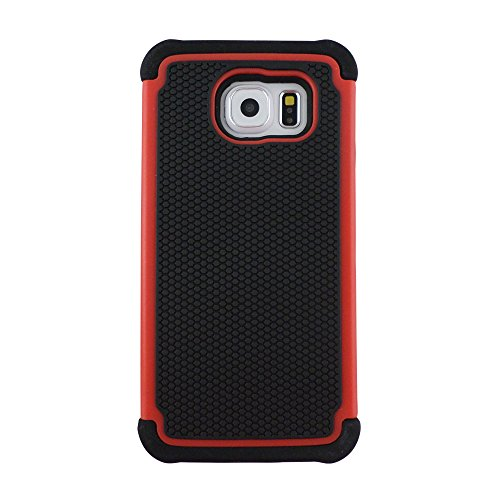 TCD for Samsung Galaxy S6 [RED] Executive Armor Defender Series [HIGH IMPACT] Multi Layer [Hard/Soft Combo] TPU and Hard Plastic Shock Absorbant iPhone Case with [FREE SCREEN PROTECTOR A