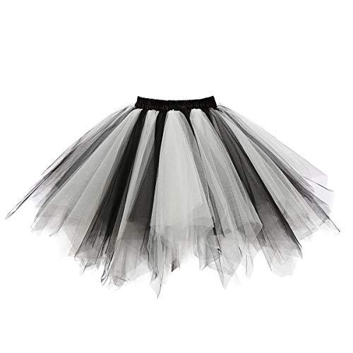 MuseverBrand 50er Vintage Ballet Blase Firt Tulle Petticoat Puffy Tutu Black/White Small/Medium (Vintage Kostüme)