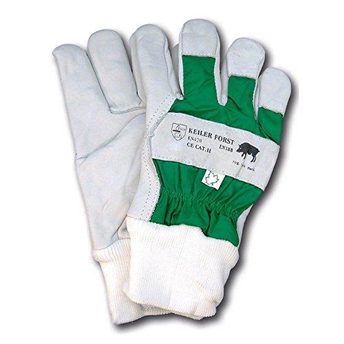 Keiler Forsthandschuh 16060 aus Rindnarbenleder, verstärkte Finger, komplett gefüttert, wasserdichter Handrücken, EN 388, EN 420, 1 Paar, Weiß/Grün (12)