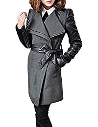 Abrigos Mujer Largos Vintage Moda con Cuero Chaqueta Otoño Basic Invierno Elegantes  Manga Larga De Solapa Slim… bd34d1750ad3