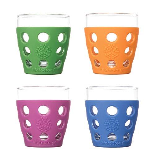 Lifefactory Getränk Glas, Glas, Mehrfarbig, 10oz, 4-TLG.
