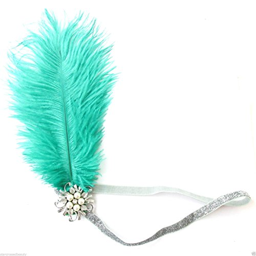 Green Silver Ostrich Feather Flapper Headpiece 1920s Vintage Headband Pearl L48 *EXCLUSIVELY SOLD BY STARCROSSED BEAUTY* by Starcrossed Beauty (Ostrich Green)