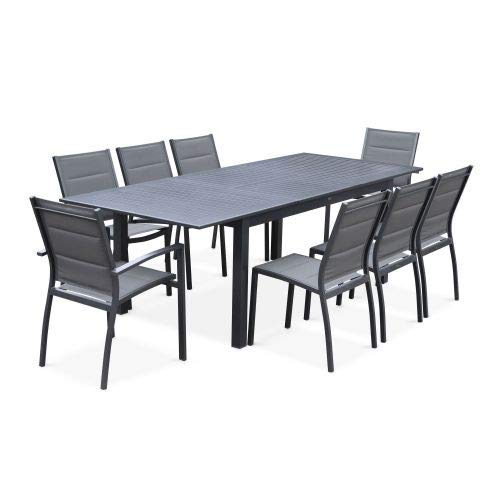Salon de Jardin Table Extensible - Chicago Anthracite - Table en Aluminium 175/245cm avec rallonge et 8 assises en textilène