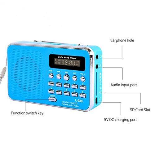 iMinker Mini-Digital-beweglicher FM Radio-Mittel-Lautsprecher MP3-Musik-Spieler TF / SD Karte Usb-Scheiben-Hafen für PC iPod-Telefon mit LED-Anzeige und Akku (Blau) - 3