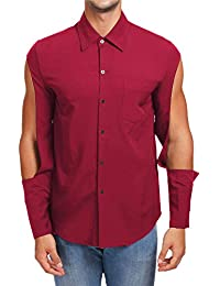 BUSIM Men's Long Sleeve Shirt Autumn Slim Openwork Solid Color Trend Personality Casual Fashion T-Shirt Tops Comfortable...