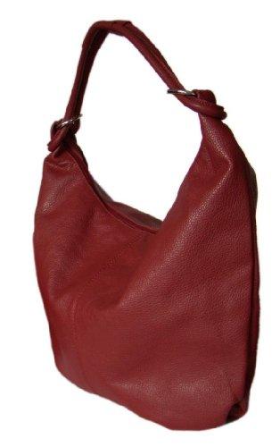Damen Ledertasche XXL Handtasche Schultertasche 48x34cm (B x H) Dunkelrot