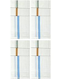 S4S® Gentleman's 100% Cotton White Striped Handkerchief (Pack of 12)