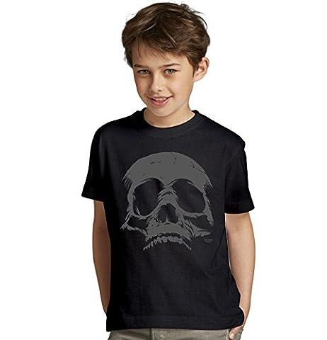 Skull Totenkopf Halloween-Kostüm Fun-T-Shirt - Outfit Verkleidung für Kinder Jungen Teenager Super Geschenk-Idee Farbe: schwarz Gr: (Kostüm Made T Shirts)