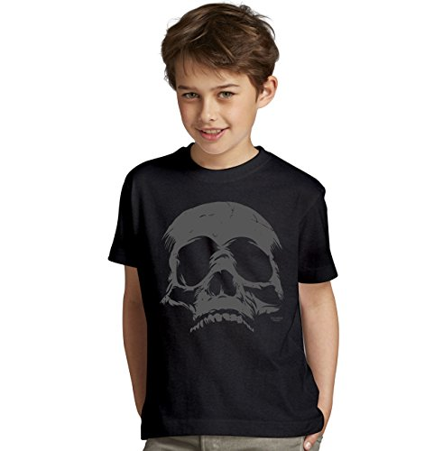Skull Totenkopf Halloween-Kostüm Fun-T-Shirt - Outfit Verkleidung für Kinder Jungen Teenager Super Geschenk-Idee Farbe: schwarz Gr: ()