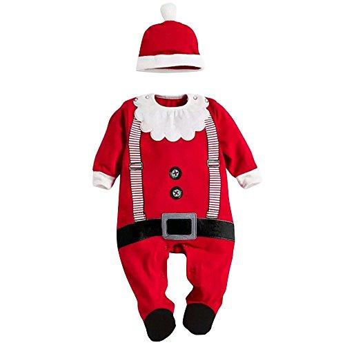 YaoDgFa Weihnachten Baby Strampler + Mütze Weihnachts Xmas -