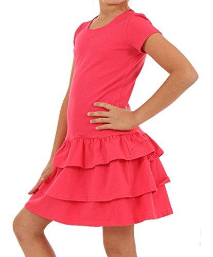 Mädchen Kleid Falten Kurzarm Sommer Frühling hk272 122, Koralle