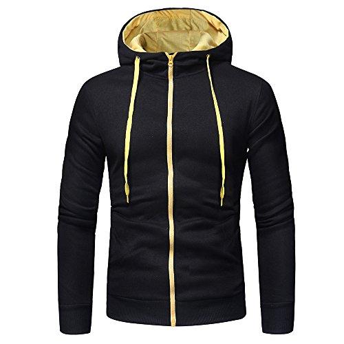 SANFASHION Herren Pulli Langarm Pullover Kapuzenshirt Oberteil Herbst Winter Mode Kapuzenpullover Tops Mantel Outwear Jacke