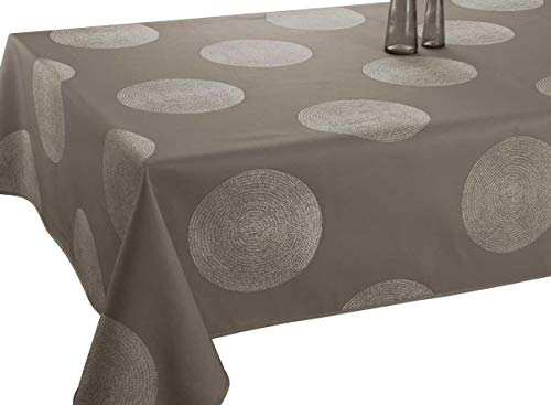 Nappe anti-taches Cercles taupe - taille : Rectangle 150x240 cm