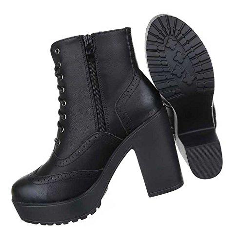 Damen Boots Stiefeletten Schuhe Schnürer Plateau Schwarz Braun 36 37 38 39 40 41 Schwarz