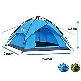 Climecare Outdoor Leichtes Pop up Wurfzelt 2-3 Personen Zelt Camping Festival 240 x 210 x 135 cm Verschiedene Farben Blau