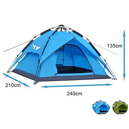 Climecare Outdoor Leichtes Pop up Wurfzelt 3-4 Personen Zelt Camping Festival 240 x 210 x 135 cm Blau