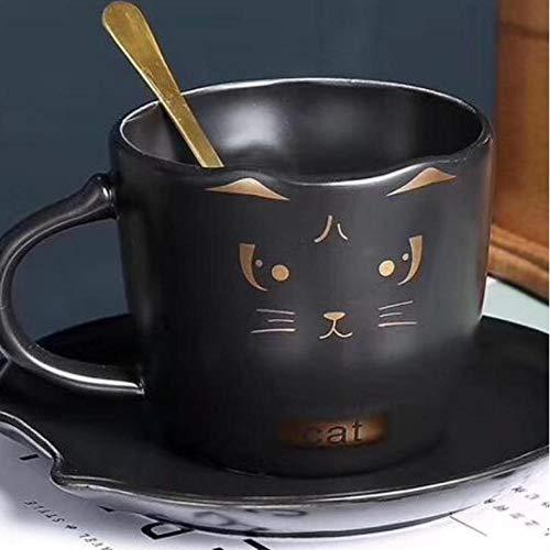 mytxfh Kaffeetassen Keramik Tasse Untertasse Mit Löffel Nette 3D Katze Stil Schatz Tasse Porzellan Kaffeetasse Gericht Anzug Nachmittagstee Tasse (211 Gericht)