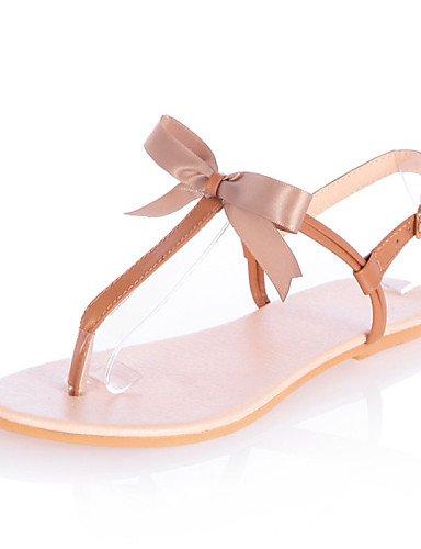 UWSZZ IL Sandali eleganti comfort Scarpe Donna-Sandali-Formale / Casual-Aperta-Piatto-Finta pelle-Marrone / Giallo / Beige Yellow