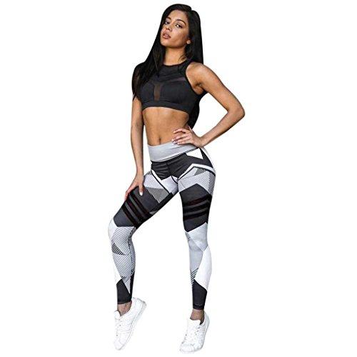 Damen Fitness Hosen,Sonnena Leggings Yogahosen Fitness Frauen Sport Gym Yoga Flat Workout Mid Taille Running Polyester Elastic Waist Pants elastische Leggings (Grau, M) (Graue Damen-hose)