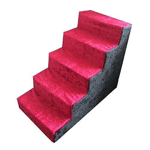 LXLA - 5-stufige Haustreppe, für kleine Hunde/Katzen, ideal für Wohnzimmer und Schlafzimmer, maschinenwaschbar, 75 × 40 × 60 cm
