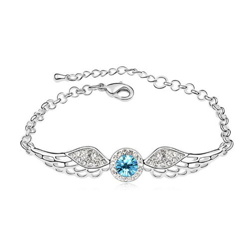 YOIL Elegant und Lina Dekoration Heißer Verkauf Kristall Armband Engelsflügel Diamanten Schmuck Für Valentinstag Geschenk (Aquamarin)