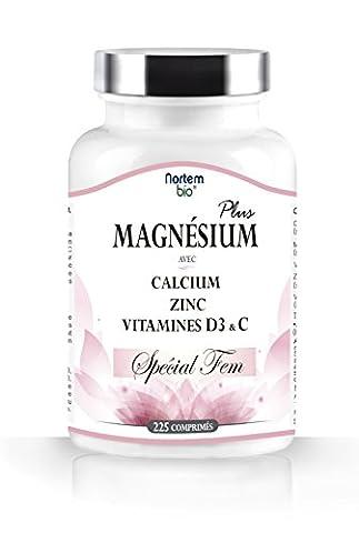 PLUS Citrate de magnésium, de calcium, de zinc, et enrichi avec des vitamines D3 & C. Spécial FEM. 100% naturel, excellente biodisponibilité, concentration élevée, haute qualité. Nortembio. Produit CE. (225 comprimés).