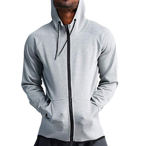 Tägliche Shirts kleiden Zubehör Schnelltrocknende Herren-Kapuzenpullover Full-Zip-Laufsport-Fitness-Sweatshirt (Farbe : Gray, Größe : Medium)