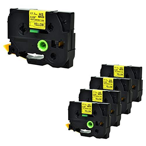 Nineleaf kompatibel Schrumpfschlauch Band für Brother P-Touch HSe-641 HSe641 HS641 HS-641 PT-E300 PT-H300 PT-E300VP PT-E500 PT-E500VP E550W E550WVP P750WVP 17.7mm x 1.5m Schwarz auf Gelb 5 Packung - Schrumpfschlauch Bands