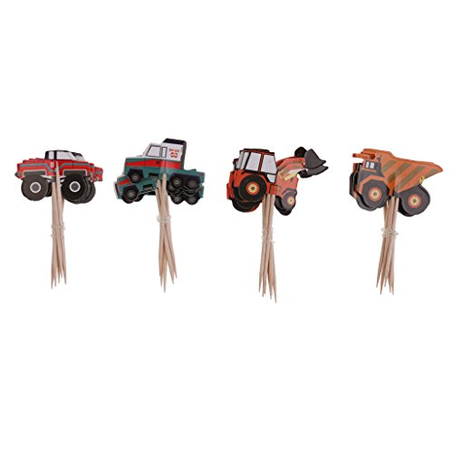 (KESOTO 24x Kuchen Picks Cupcake Topper Tortenaufsatz Muffin Dekoration für Kindergeburtstag und Taufe - Traktor)