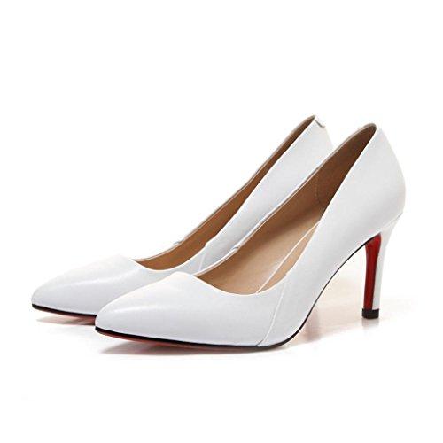W&LMFine con Tacchi alti appuntito Scarpe Bocca poco profonda Basso aiuto scarpa Scarpe singole White