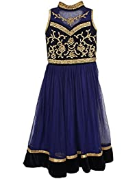Arshia Fashions Girl Net Blue Golden Long Party Gown (10-11 Years)