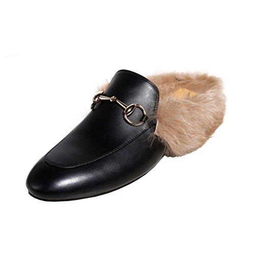 YE Damen Flache Mules Leder Pantoletten Geschlossen mit Fell Bequem Slipper Schuhe