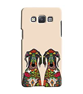 Omnam Two Dogs On Cream Background With Effect Printed Designer Back Cover Case For Samsung Galaxy E7
