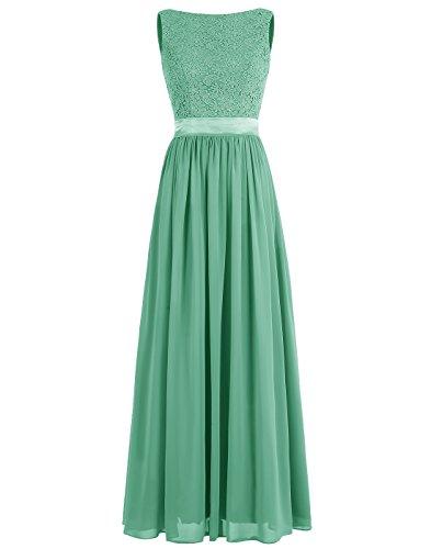 Dressystar Robe femme,Robe de soirée/bal longue à fleur en mousseline,dentelle Vert