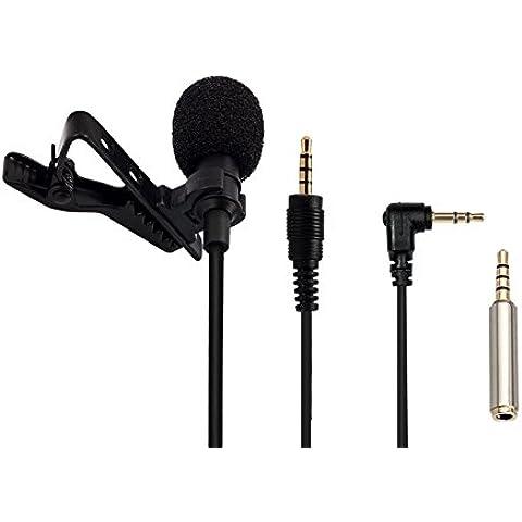 AGPTek Z02- Mini Microfono Clip a Condensatore Omnidirezionale 3.5mm con 2 adattatore per Smartphone, PC e Line-in Registratore, Nero