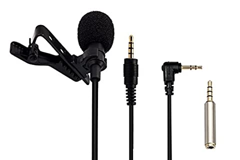 Upgrade |AGPtek Lavalier Lapel Mic Clip-on Omnidirectional Condenser Microphone, with