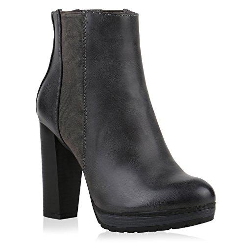 Damen Schuhe Plateau-Boots Klassische Stiefeletten Block Absatz 121950 Grau Carlton 36 Flandell