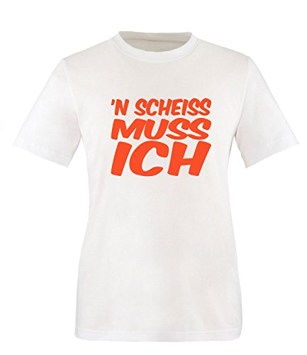 Luckja n` scheiss muss ich Herren Rundhals T-Shirt Weiss/Orange