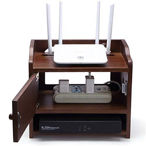NBRTT Hölzerne WiFi Router Socket Plug Aufbewahrungsbox, Mehrzweck kleine Desktop Cabinet Boxen, für Set-Top-Boxen und Router, Insert Row Racks Home Organization -