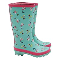 M&Co Girls Pretty Floral Print Pink Trim Ridged Sole Grip Protection Pull On Welly Boots
