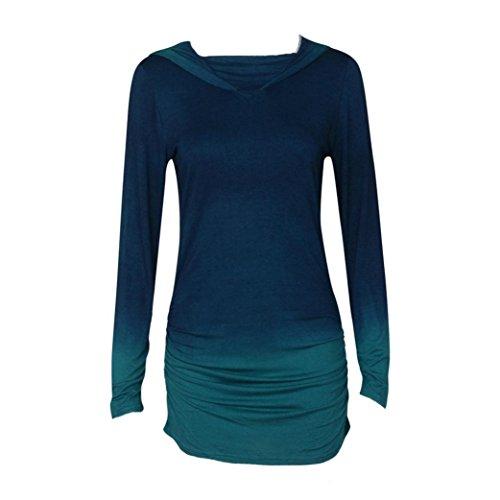 Frauen Bluse,Amlaiworld Frauen Hoodies Sweatshirts Casual Langarm mit Kapuze Farbverlauf Hemd Bluse (L, Blau) (Kapuzen Bluse Damen)
