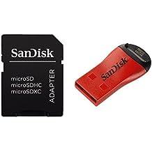 SanDisk SDDRK-121-B35 - Lector Micro SD y adaptador SD (480 MB/s, USB), color rojo y negro