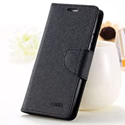 Luxury Mercury Magnetic Lock Diary Wallet Style Flip Cover Case For Acer Liquid Z6 (Black)