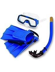 Yosoo Niños Con aletas de buceo con escafandra de silicona + Snorkel + Gafas máscara del tubo respirador de silicona conjunto para los niños (azul)