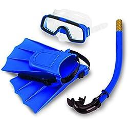 Bnineteenteam Set de plongée avec Tuba pour Enfants, forfaits de plongée avec Tuba pour Les Enfants âgés de 3 à 4 Ans avec Masque, Lunettes de plongée avec Tuba et ailerons en Silicone (Bleu)