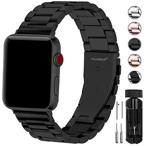Fullmosa Bracelet Compatible avec Apple Watch 42mm 44mm,Bracelet en Acier Inoxydable pour iWatch Series 5 Series 4 Series 3 Series 2 Series 1, Noir 42mm 44mm