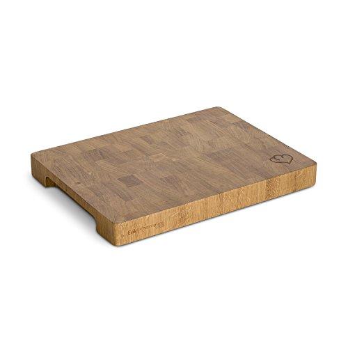 Eichenholz Schneidebrett Erik, Rutschfest dank 4 Schaumstoffstopper, Holzbrett, Küchenbrett aus Stirnholz mit Griffmulde inkl. Pflegehinweis - 30 x 40 x 4 cm